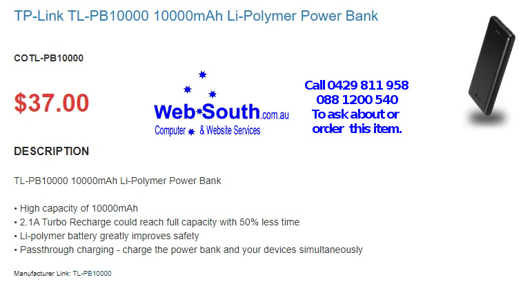 TP-Link TL-PB10000 10000mAh Li-Polymer Power Bank - from Web South