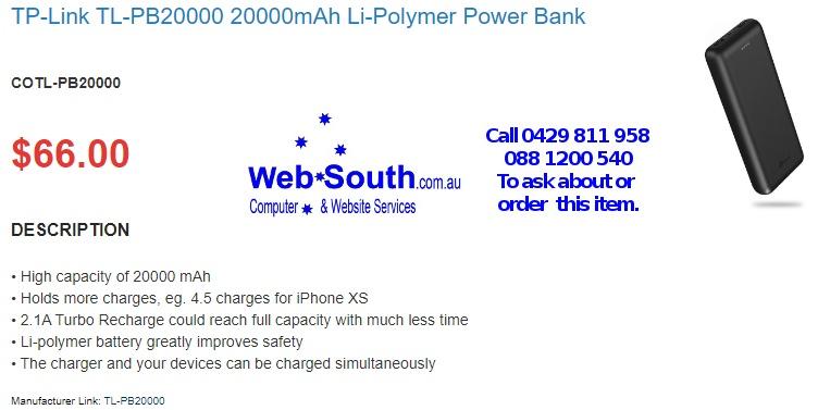 TP-Link TL-PB20000 20000mAh Li-Polymer Power Bank - from Web South